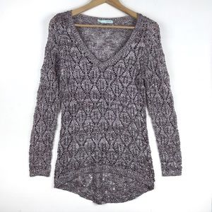 Maurices Sequin Open Knit V Neck Marled Sweater